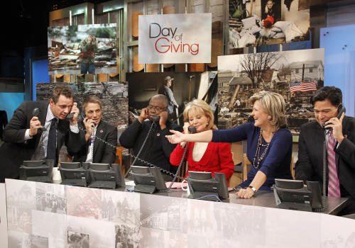 "This image released by American Broadcasting Companies shows, from left, ABC News' Chris Cuomo, actor Tony Danza, actor Andre Braugher, Barbara Walters, Cynthia McFadden and David Novarro manning phones to take donations for victims of Hurricane Sandy during ""Good Morning America,"" Monday, Nov. 5, 2012 in New York. Walters made a contribution of $250,000 to the American Red Cross and GMA co-host George Stephanopoulos followed suit with a donation for $50,000.(AP Photo/American Broadcasting Companies, Lou Rocco)"
