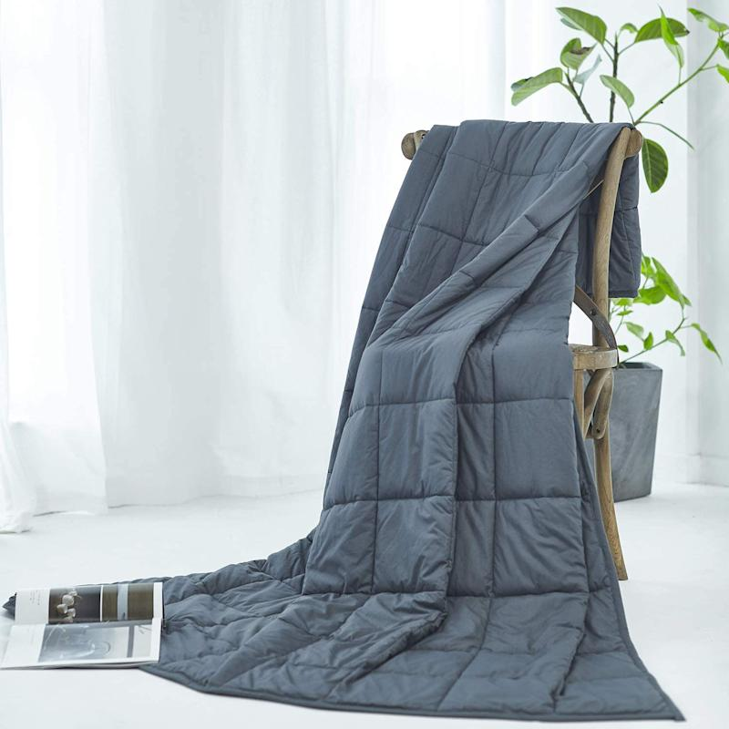 RelaxBlanket Weighted Blanket is on sale now for $70. Image via Amazon.