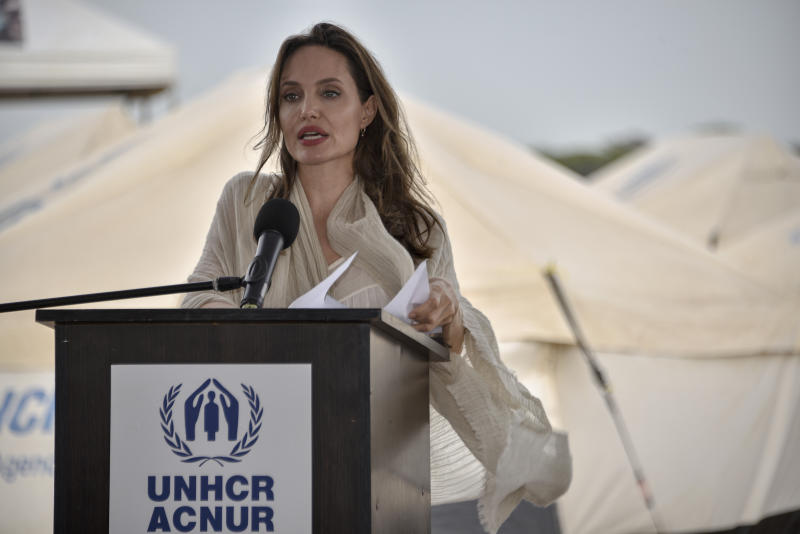 United Nations High Commissioner for Refugees (UNCHR) Special Envoy Angelina Jolie delivers a speech during a press conference after visiting a refugee camp in the border between Colombia and Venezuela on June 8, 2019 in Maicao, Colombia. UN and International Organization for Migration (IOM) announced yesterday that 4 million of Venezuelans have left their country since 2015 due to the social, political and economic crisis, which means they are of the single largest population groups displaced from their country globally. The camp in Maicao has 60 tents which can accommodate up to 350 people. Due to high demand, UNHCR is considering an expansion to give shelter to 1,400 people. Colombia it the top host of Venezuelan migrants and refugees, accounting 1.3 million. (Photo by Guillermo Legaria/Getty Images)