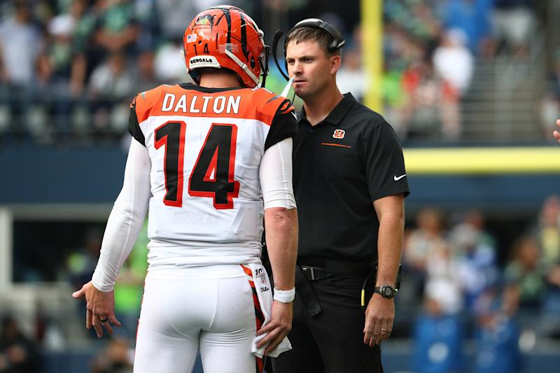 SEATTLE, WASHINGTON - SEPTEMBER 08: Andy Dalton #14 and head coach Zac Taylor of the Cincinnati Bengals have a conversation in the fourth quarter against the Seattle Seahawks during their game at CenturyLink Field on September 08, 2019 in Seattle, Washington. (Photo by Abbie Parr/Getty Images)