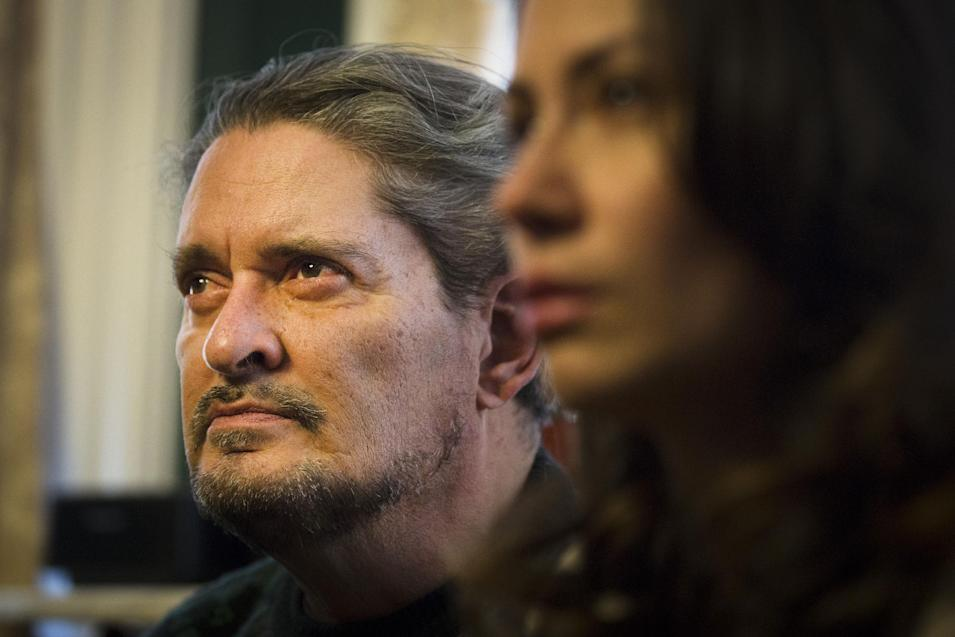 Dennis Jimenez, father of 33-year-old Sarai Sierra who was found dead on Saturday in Turkey, listens to a reporter's question during a news conference at a friend's home in Staten Island, Monday, Feb. 4, 2013, in New York. Sierra went missing while vacationing alone in Istanbul on Jan. 21, the day she was due to board her flight back home.   (AP Photo/John Minchillo)