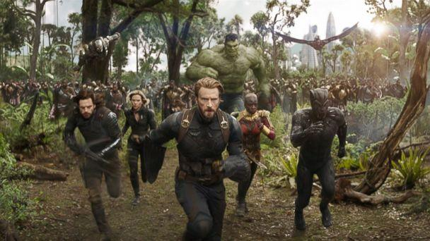 PHOTO: Don Cheadle, Chris Evans, Scarlett Johansson, Mark Ruffalo, Anthony Mackie, Chadwick Boseman, Sebastian Stan and Danai Gurira in 'Avengers: Infinity War.' (Marvel )