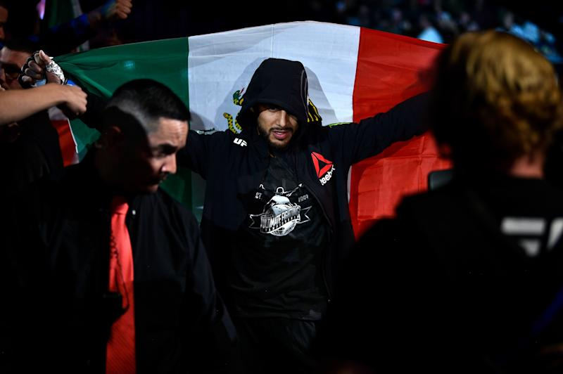 DENVER, CO - NOVEMBER 10: Yair Rodriguez of Mexico enters the arena prior to facing Chan Sung Jung of South Korea in their featherweight bout during the UFC Fight Night event inside Pepsi Center on November 10, 2018 in Denver, Colorado. (Photo by Chris Unger/Zuffa LLC/Zuffa LLC via Getty Images)