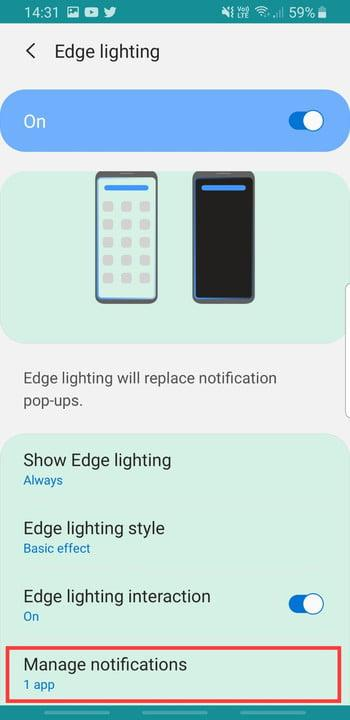 Screenshot of Manage Notifications setting in Edge Lighting on Samsung Galaxy S8