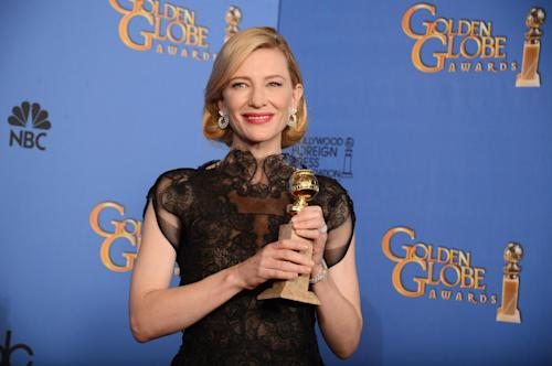 "Cate Blanchett poses in the press room with the award for best actress in a motion picture - drama for ""Blue Jasmine"" at the 71st annual Golden Globe Awards at the Beverly Hilton Hotel on Sunday, Jan. 12, 2014, in Beverly Hills, Calif. (Photo by Jordan Strauss/Invision/AP)"