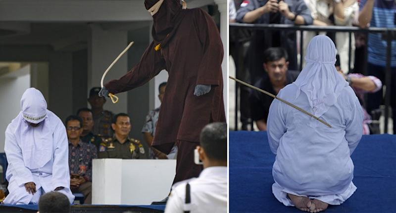 A woman is caned in public for having sex outside of marriage in Banda Aceh, Indonesia.