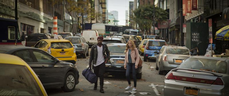 Pictured (l-r): Jovan Adepo as Larry Underwood and Heather Graham as Rita Blakemoor of the the CBS All Access series THE STAND. Photo Cr: Best Possible Screengrab/CBS ©2020 CBS Interactive, Inc. All Rights Reserved.