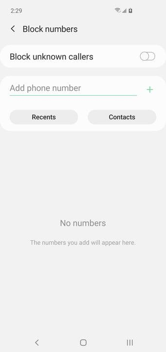Block number on Samsung Galaxy S10