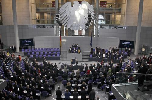 A general view of the Bundestag, German lower house of parliament, during a meeting to elect the German Chancellor