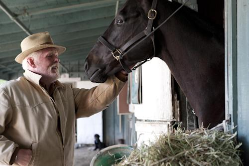 "In this undated image released by HBO, Nick Nolte appears in a scene from the HBO original series ""Luck."" The former director of the American Humane Association's Film and Television Unit sued HBO and the group on Monday, Dec. 31, 2012, claiming she was fired for complaining about the use of drugged, sick and underweight horses on the show ""Luck."" (AP Photo/HBO, Gusmano Cesaretti )"