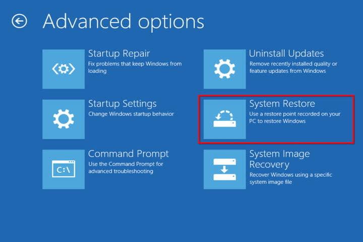 Advanced Options System Restore