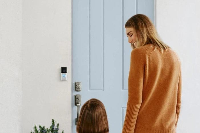 Ring Video Doorbell 3 with mom and girl
