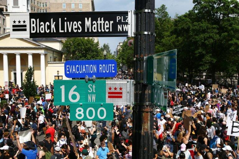 The city`s mayor approved the painting of words Black Lives Matter on the street on Fridaay