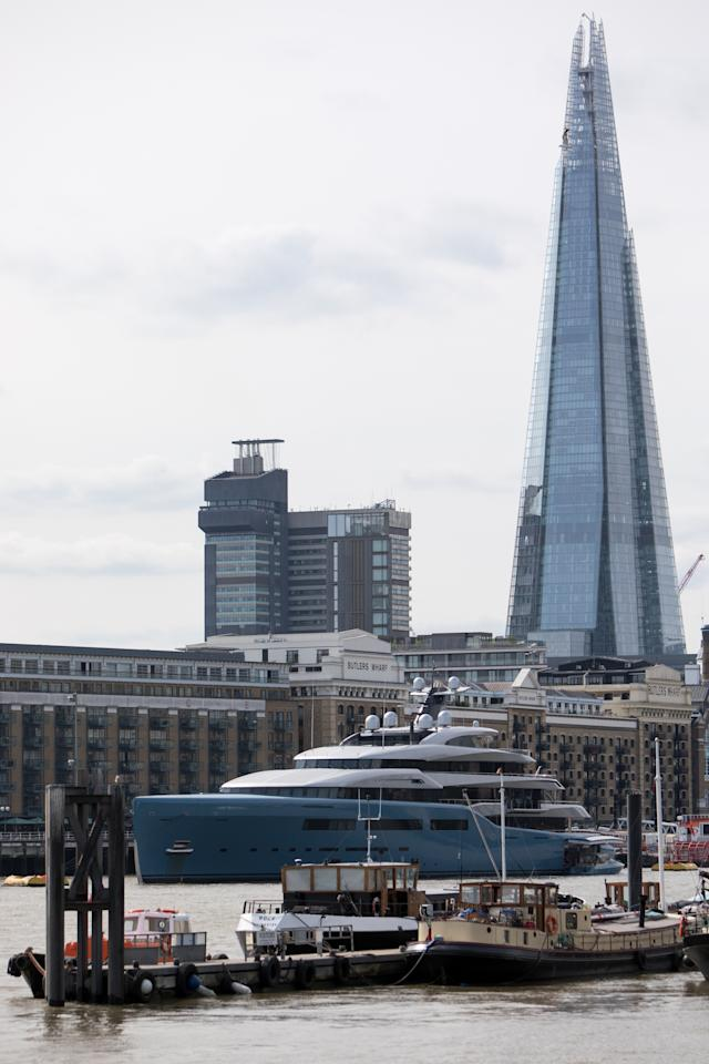 <p>Aviva was an eye-catching sight as it moored close to The Shard skyscraper near London Bridge. (WENN) </p>