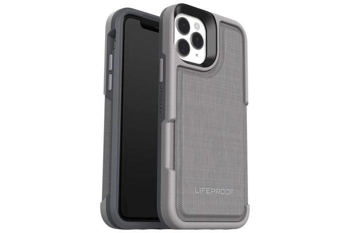 Photo shows the front and back of an iPhone 11 Pro in a grey Lifeproof Flip Wallet case