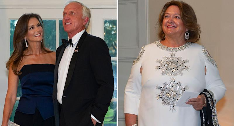 Australian golfer Greg Norman and his wife Kirsten, and mining magnate Gina Rinehart. Source: AAP