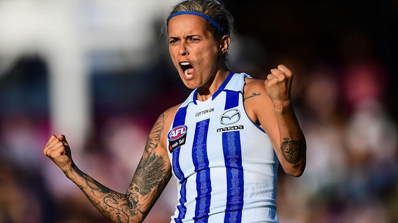 Moana Hope, pictured here in a game for North Melbourne in 2019. (Photo by Daniel Carson/AFL Media)
