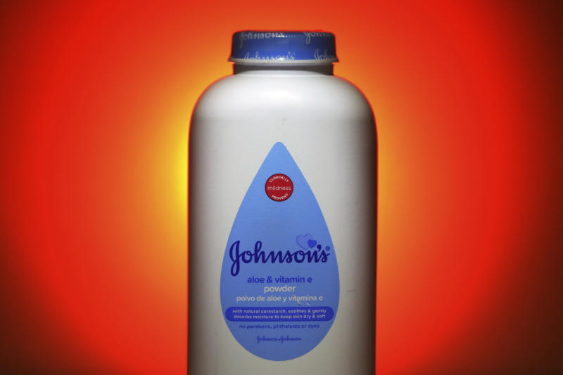 FILE - This Oct. 21, 2019, photo shows Johnson's Baby Aloe & Vitamin E Powder in Salt Lake City. Johnson & Johnson reports financial results Tuesday, April 14, 2020. Johnson & Johnson is ending production of its iconic talc-based Johnson's Baby Powder, which has been embroiled in thousands of lawsuits claiming it caused cancer. The world's biggest maker of health care products said Tuesday, May 19, 2020 that the discontinuation only affects the U.S. and Canada, where demand has been declining. (AP Photo/Rick Bowmer, File)
