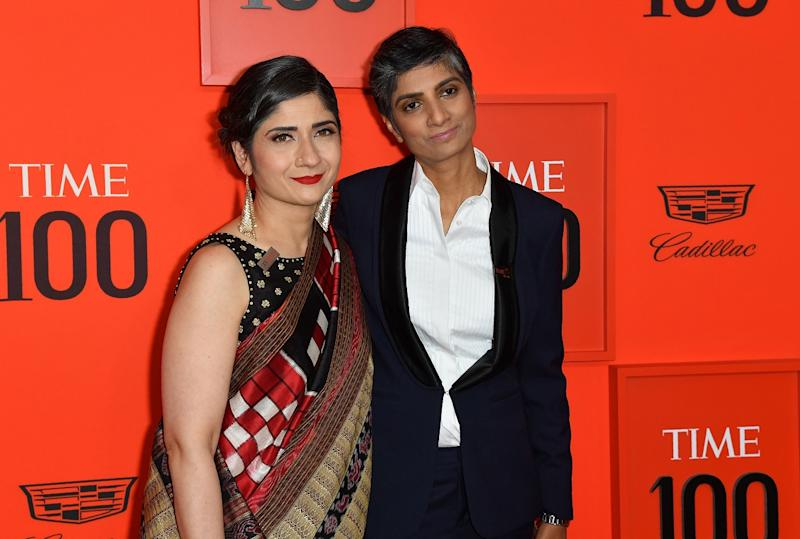 Arundhati Katju (L) and Menaka Guruswamy (R) arrive on the red carpet for the Time 100 Gala at the Lincoln Center in New York on April 23, 2019. (Photo by ANGELA WEISS/AFP via Getty Images)