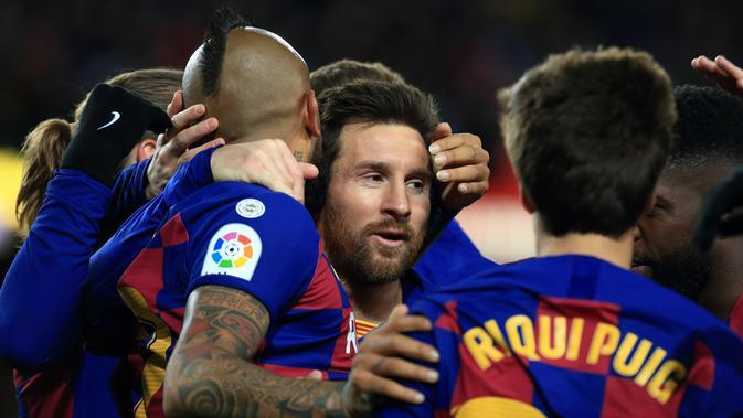 Lionel Messi dan skuat Barcelona. (La Liga)
