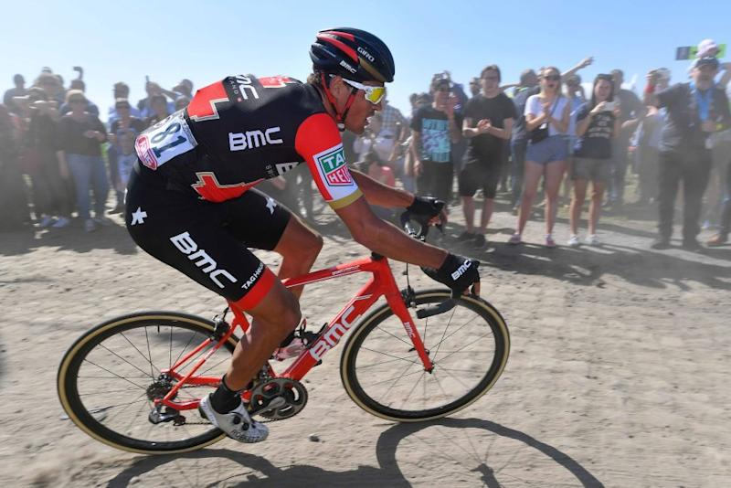 Eventual winner Greg Van Avermaet (BMC) made his way back from an early puncture to rejoin the main group midway through Paris-Roubaix