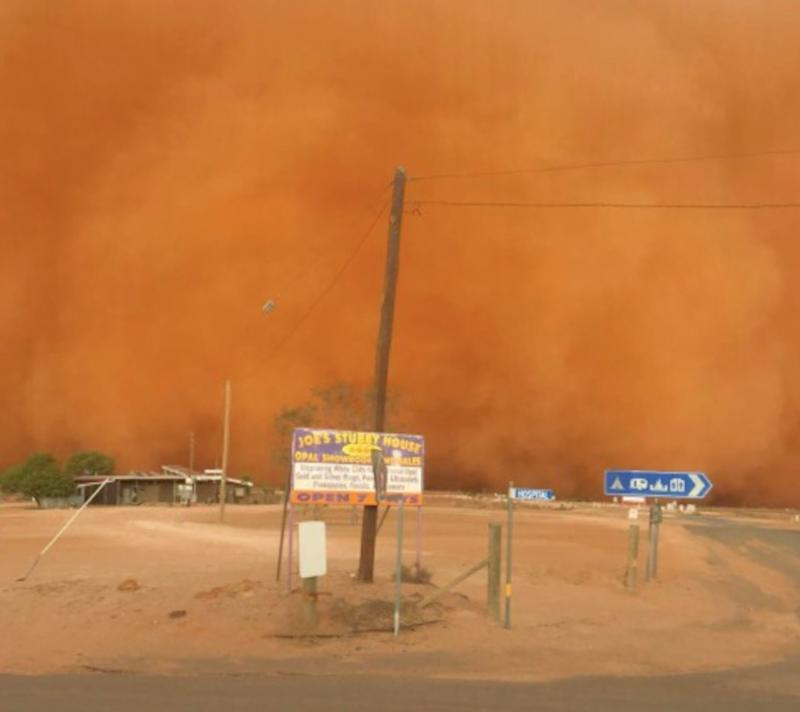 The cloud turned the skies a vibrant shade of orange in White Cliffs, NSW. Source: Olivia Probyn