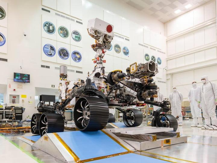 In a clean room at NASA's Jet Propulsion Laboratory in Southern California, engineers observed the first driving test for NASA's Mars 2020 rover on Dec. 17, 2019.