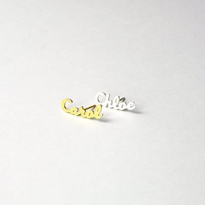 Stud Earrings Personalize Name Earring Cursive Font Nameplate Personalized Name Earring Name Earring For Women Friend Jewelry Gift