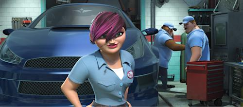 """This film publicity image released by DreamWorks Animation shows Paz, voiced by Michelle Rodriguez, in a scene from the animated movie """"Turbo."""" (AP Photo/DreamWorks Animation)"""
