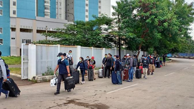 Puluhan Anak Buah Kapal (ABK) warga negara Indonesia (WNI) di Kapal MV Artania. (Foto: Dokumentasi TNI)