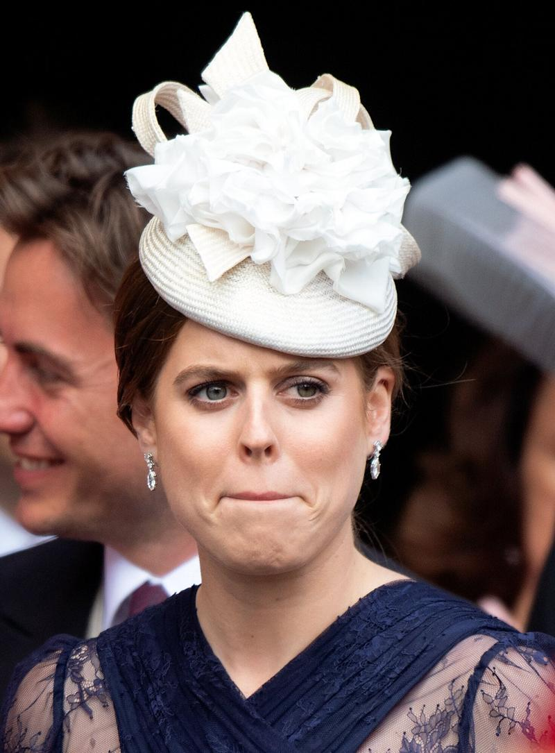 Princess Beatrice attends the wedding of Lady Gabriella Windsor and Thomas Kingston at St George's Chapel on May 18, 2019 in Windsor, England