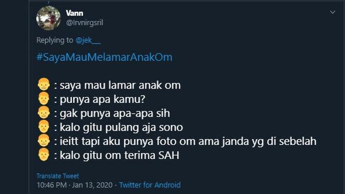 Modal nekat lamar anak orang (Sumber: Twitter/irvnirgsril)