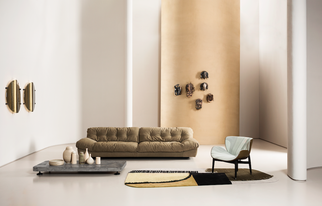 "<p>Milano sofa by Paola Navone, Piombino small table by Paola Navone, Nanda lamps by Studiopepe, Jorgen armchair by Roberto Lazzeroni, Himani A Limited Edition rug by Baxter P.</p><p><a href=""https://www.baxter.it/en/worldwide"" target=""_blank"">Discover Milano Worldwide 2020</a></p>"