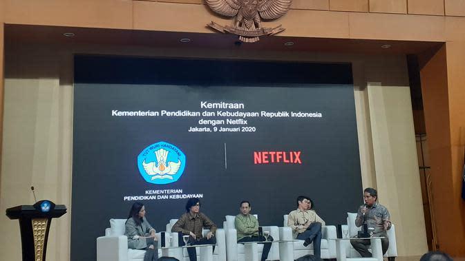 Kemendikbud bekerjasama dengan layanan media streaming digital Netflix, Kamis (9/1/2020).. (Merdeka.com/ Tri Yuniwati Lestari)