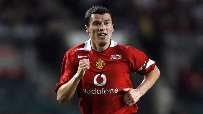 Roy Keane- Keane menjadi andalan lini tengah Manchester United pada era Sir Alex Ferguson. Pemain asal Irlandia ini 469 kali dimainkan oleh Sir Alex Ferguson. (AFP/Andrew Yates)