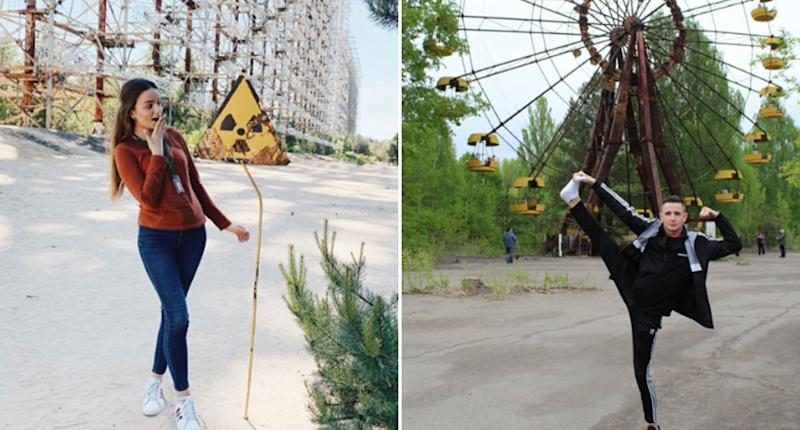 A woman feigns shock looking at a nuclear warning sign while a man poses with his leg kicked high in the air in front of a ferris wheel. Both were taken at Chernobyl and uploaded to Instagram.