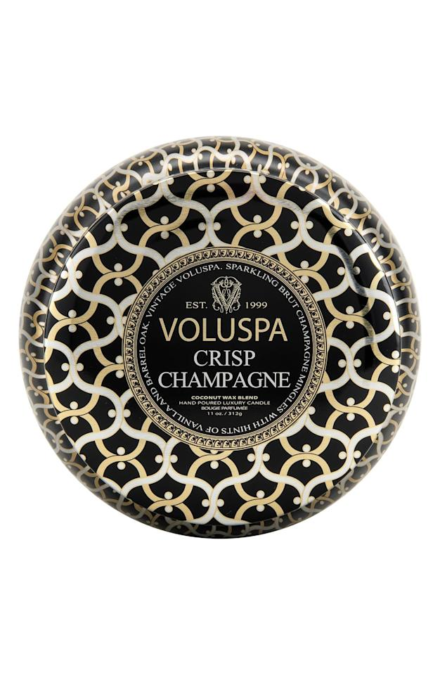 """<p><strong>VOLUSPA</strong></p><p>nordstrom.com</p><p><strong>$18.00</strong></p><p><a href=""""https://go.redirectingat.com?id=74968X1596630&url=https%3A%2F%2Fwww.nordstrom.com%2Fs%2Fvoluspa-maison-noir-crisp-champagne-maison-metallo-two-wick-candle%2F3242764&sref=https%3A%2F%2Fwww.elle.com%2Fbeauty%2Fg33523947%2Fnordstrom-anniversary-sale-2020-best-beauty-makeup-deals%2F"""" target=""""_blank"""">SHOP NOW</a></p><p><strong>Sale: $12</strong></p><p>Value: $18</p><p>Caviar taste on a shoestring budget? Volupsa's crisp champagne candle is one of our top picks for fancy-looking inexpensive candles, with a scent that that transports us to a sunny day in the south of France with gentle hints of vanilla and barrel oak. A very wise item to have on hand as a failsafe gift. </p>"""