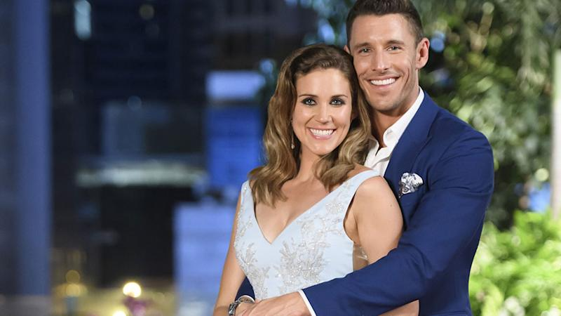 Georgia Love and Lee Elliot on the finale of The Bachelorette Australia