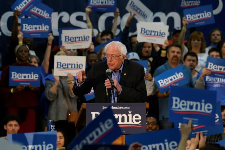 Democratic presidential candidate Bernie Sanders speaks at a rally in Myrtle Beach, South Carolina