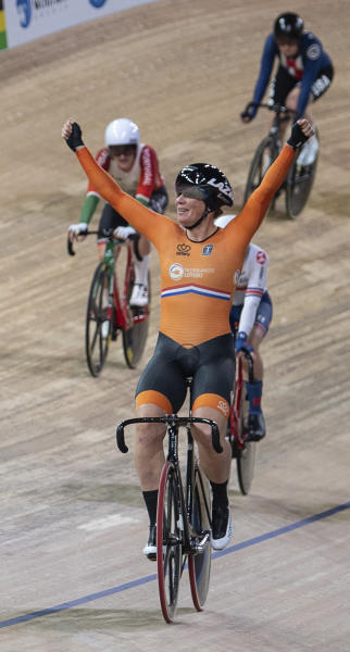 Kirsten Wild from the Netherlands celebrates her victory in the World Championships Scratch women's track cycle race in Berlin, Germany, Wednesday Feb. 26, 2020. (Sebastian Gollnow/dpa via AP)