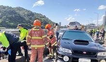 汐止北山大橋轎車逆向撞8機車 6旬婦意識不清送醫