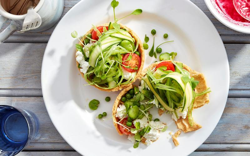 Summer vegetable and goat's curd tarts  - Andrew Twort and Annie Hudson