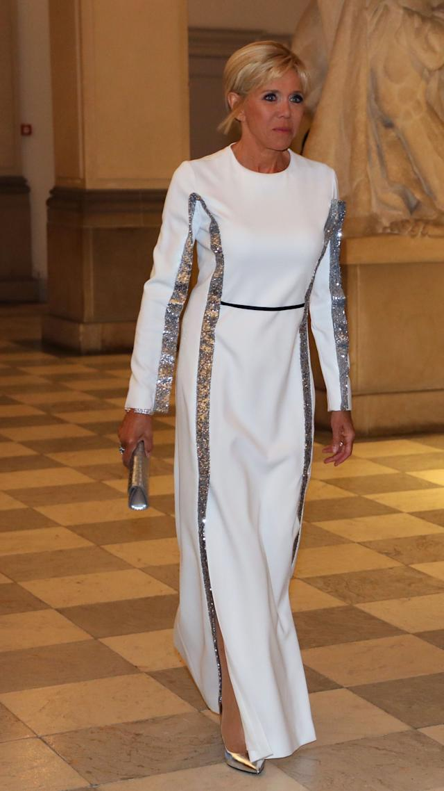 WHO: Brigitte Macron WHAT: Louis Vuitton WHERE: At Christiansborg Palace for a state dinner, Copenhagen WHEN: August 28, 2018