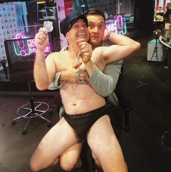 Grant Denyer stripped off to reveal his hot dad bod whilst live on air, even giving Ed Kavalee a seductive lap dance. Source: 2DayFM
