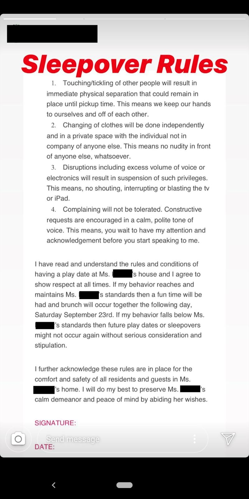 The full 'contract' was posted to the woman's Instagram account, and then trolled on reddit. Photo: Reddit/ insaneparents
