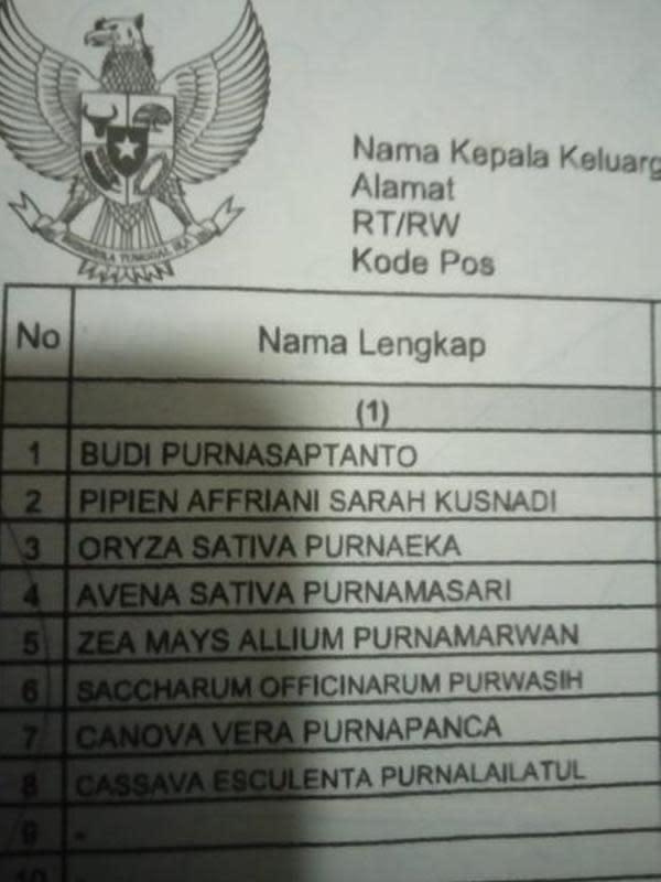 Nama Unik di Kartu Keluarga (Sumber:Twitter/@ripRDCL)
