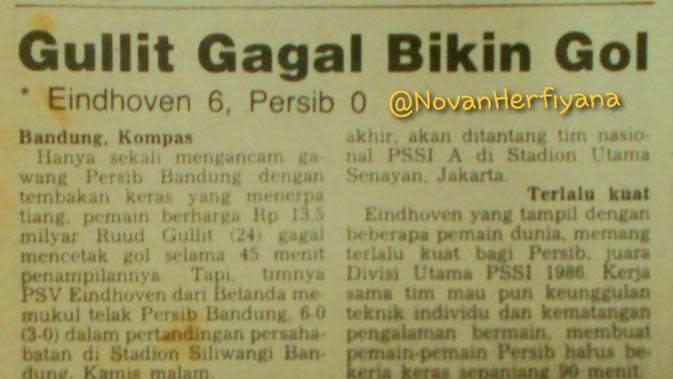 Berita tentang Ruud Gullit saat datang ke Indonesia 1987. (Rep. Harian Kompas/@NovanHerfiyana)
