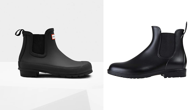 Left: Hunter Women's Original Chelsea Boots: Black; Right: Women's Waterproof Chelsea Boots.