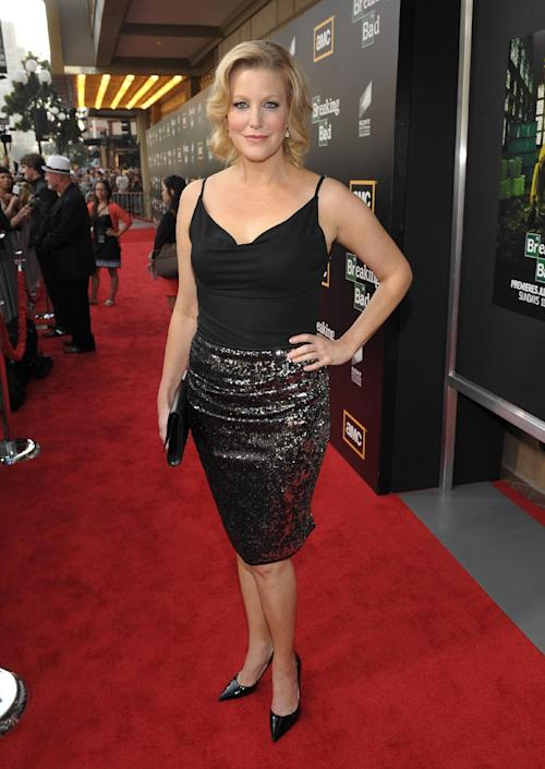 "COMMERCIAL IMAGE - Anna Gunn arrives at AMC's ""Breaking Bad"" Premiere and After Party on Saturday, July 14, 2012 in San Diego, CA.(Photo by John Shearer/Invision for AMC/AP Images)"