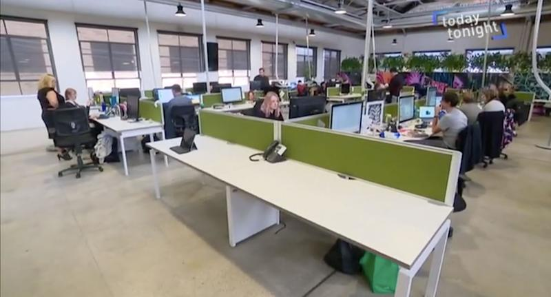 The innovative office of Melbourne company Versa. Source: Today Tonight